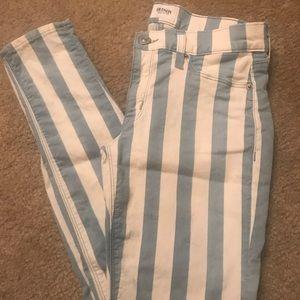 Hudson Krista striped white skinny jeans size 27
